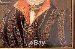 Ancien tableau huile sur bois portrait dame de cour à la renaissance XIX siècle