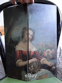 Ancien tableau huile sur bois, portrait femme