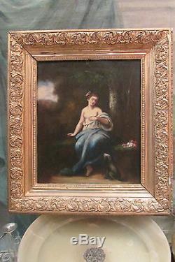 Ancien tableau huile sur bois signé femme et son chien dans un parc 19 eme