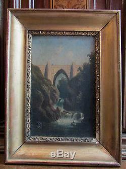 Ancien tableau huile sur carton epoque 19 eme cadre paysage pont