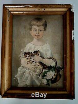 Ancien tableau huile sur carton la fillette aux chatons signé Hulin fin XIXe