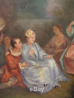 Ancien tableau huile sur cuivre dans le goût de Watteau époque XIX ème siècle