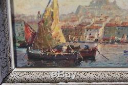 Ancien tableau huile sur isorel Marseille vieux port signé Joseph Colombini