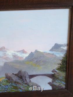 Ancien tableau huile sur panneau Astrid WALFORD paysage montagne Alpes Oisans