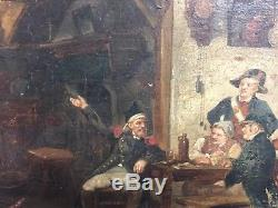 Ancien tableau, huile sur panneau début 19ème, scène, a identifier, peinture