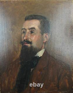 Ancien tableau huile sur panneau portrait d'homme par Ferdinand Pineau Chaillou