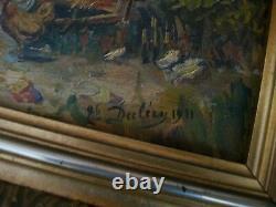 Ancien tableau huile sur panneau poules F. DECLÉRY XXème Ecole française coté