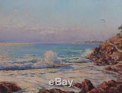 Ancien tableau huile sur toile Marc Chailloux bord de mer