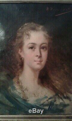 Ancien tableau huile sur toile. Portrait jolie jeune femme 19ème