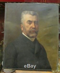 Ancien tableau huile sur toile XIXe portrait d homme auguste de la brely lyon