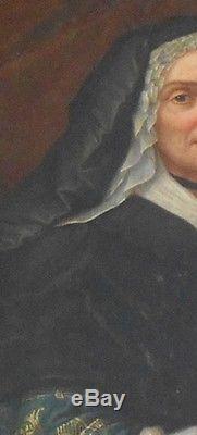 Ancien tableau huile sur toile XVIII e portrait femme au livre royauté noblesse
