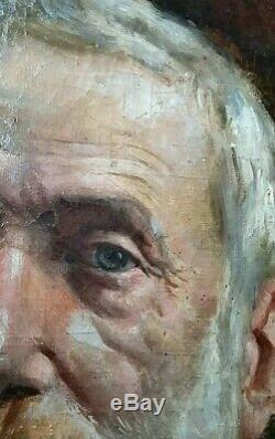 Ancien tableau huile sur toile beau portrait école Française Ingres