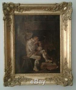 Ancien tableau huile sur toile homme fumant la pipe école française 19ème