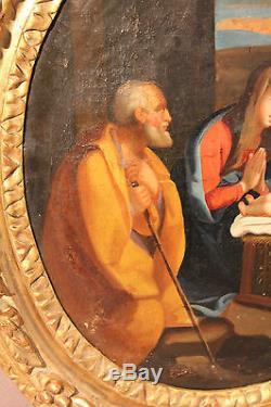 Ancien tableau huile sur toile la nativité époque XVII ème siècle