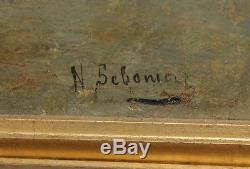Ancien tableau huile sur toile marine a venise italie signé XIXe Italy painting