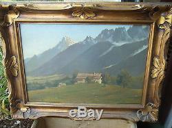 Ancien tableau, huile sur toile, montagne chalet signature LUDIN 1922