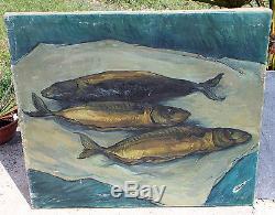 Ancien tableau huile sur toile nature morte au poissons signé Soutine