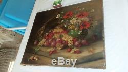 Ancien tableau huile sur toile nature morte panier de fruits et fleurs signé