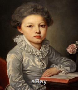Ancien tableau huile sur toile portrait d'enfant XIXe suiveur de Greuze