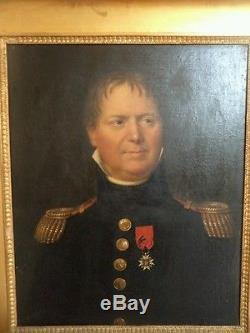 Ancien tableau huile sur toile portrait d'officier18éme
