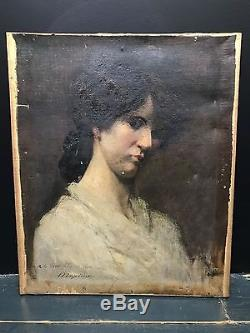 Ancien tableau huile sur toile portrait de Femme XIXe