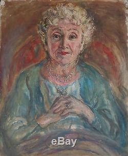 Ancien tableau huile sur toile / portrait de femme / fauve fauvisme oil painting