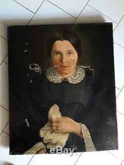 Ancien tableau huile sur toile portrait époque empire / napoleon III