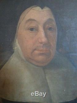 Ancien tableau huile sur toile portrait religieux 18ème