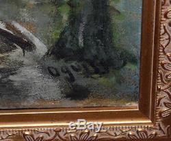 Ancien tableau huile sur toile rue de paris signé Oguiss Montmartre 1950