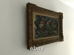 Ancien tableau huile sur toile signé p vérité