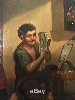 Ancien tableau huile sur tôle métal XIXème siècle signé a identifier, peinture