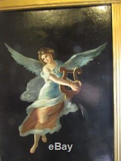 Ancien tableau huile / toile cirée XIXe muse la musique euterpe lyre a l antique