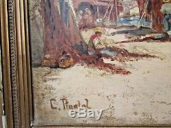 Ancien tableau huile / toile marine signé pinatel pecheur filet marseille cassis