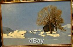 Ancien tableau huile / toile paysage de neige maurienne chalet maurice stoppani
