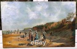 Ancien tableau huile toile scène de plage XIXe marine bord de mer Louis Bernier