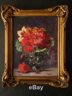Ancien tableau miniature Bouquet de pensées fleurs Huile sur carton Signée c1929