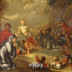 Ancien tableau néerlandais religieux peinture huile sur toile chemin croix 800