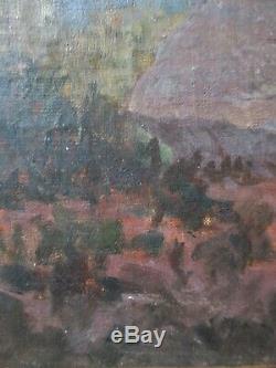 Ancien tableau paysage Forêt de Fontainebleau Barbizon par G. Deschamps