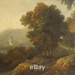 Ancien tableau paysage architectures peinture huile sur toile cadre art 800 XIX