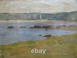 Ancien tableau paysage impressionniste Jean de LA HOUGUE cadre MONTPARNASSE
