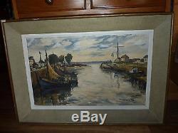 Ancien tableau paysage peinture huile sur toile. Signé Gaston Girault