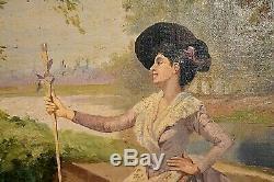 Ancien tableau peintre et son modèle dans le goût du XVIIIe signé Regagnon XIXe