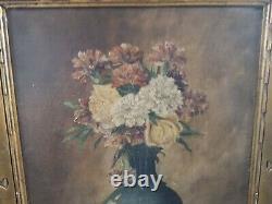 Ancien tableau peinture art floral huile sur panneau bois signé