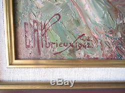 Ancien tableau peinture huile montagne Etienne Albrieux pays Allevard 1942