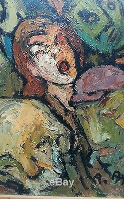 Ancien tableau peinture huile peintre toulouse meridional Roger Ayral