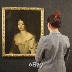 Ancien tableau peinture huile sur toile portrait femme cadre 700 18ème siècle