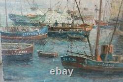 Ancien tableau peinture marine signé SAUDEMONT huile sur toile