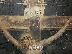 Ancien tableau peinture religieuse La Crucifixion huile sur toile XVIII ou XIXe