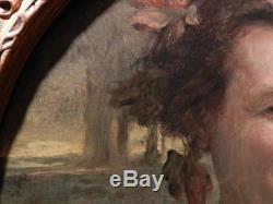 Ancien tableau portrait Bacchus signé Auguste Leveque painting ritratto bacco