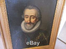 Ancien tableau portrait HENRI IV signature a identifier